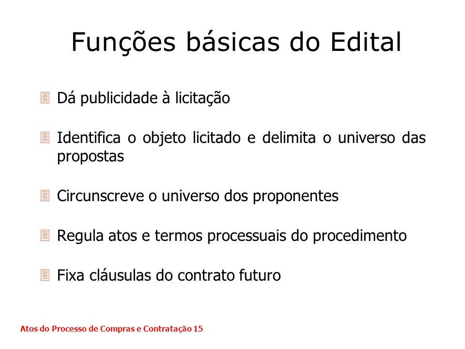 Funções básicas do Edital 3Dá publicidade à licitação 3Identifica o objeto licitado e delimita o universo das propostas 3Circunscreve o universo dos p