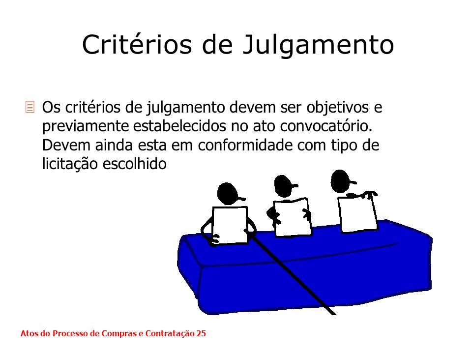 Critérios de Julgamento 3Os critérios de julgamento devem ser objetivos e previamente estabelecidos no ato convocatório. Devem ainda esta em conformid