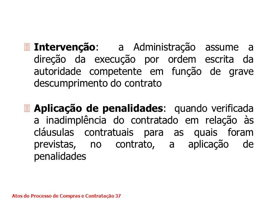 3Intervenção: a Administração assume a direção da execução por ordem escrita da autoridade competente em função de grave descumprimento do contrato 3A