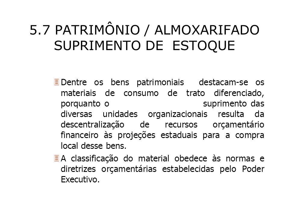5.7 PATRIMÔNIO / ALMOXARIFADO SUPRIMENTO DE ESTOQUE 3Dentre os bens patrimoniais destacam-se os materiais de consumo de trato diferenciado, porquanto