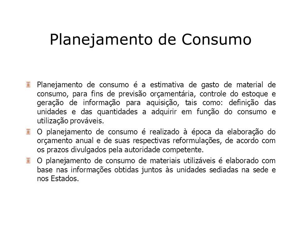 Planejamento de Consumo 3Planejamento de consumo é a estimativa de gasto de material de consumo, para fins de previsão orçamentária, controle do estoq