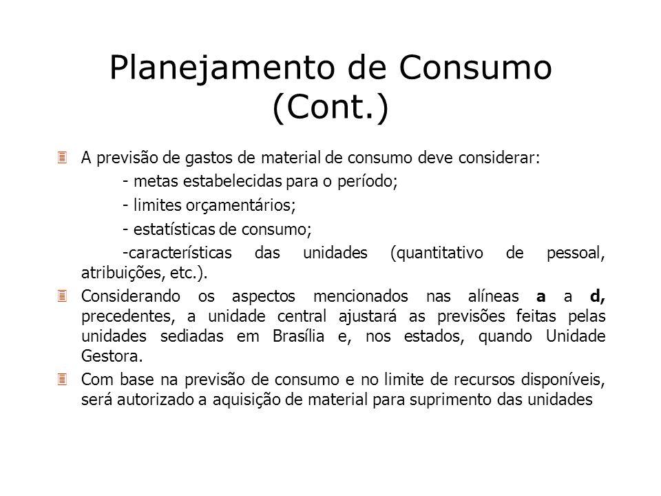 Planejamento de Consumo (Cont.) 3A previsão de gastos de material de consumo deve considerar: - metas estabelecidas para o período; - limites orçament