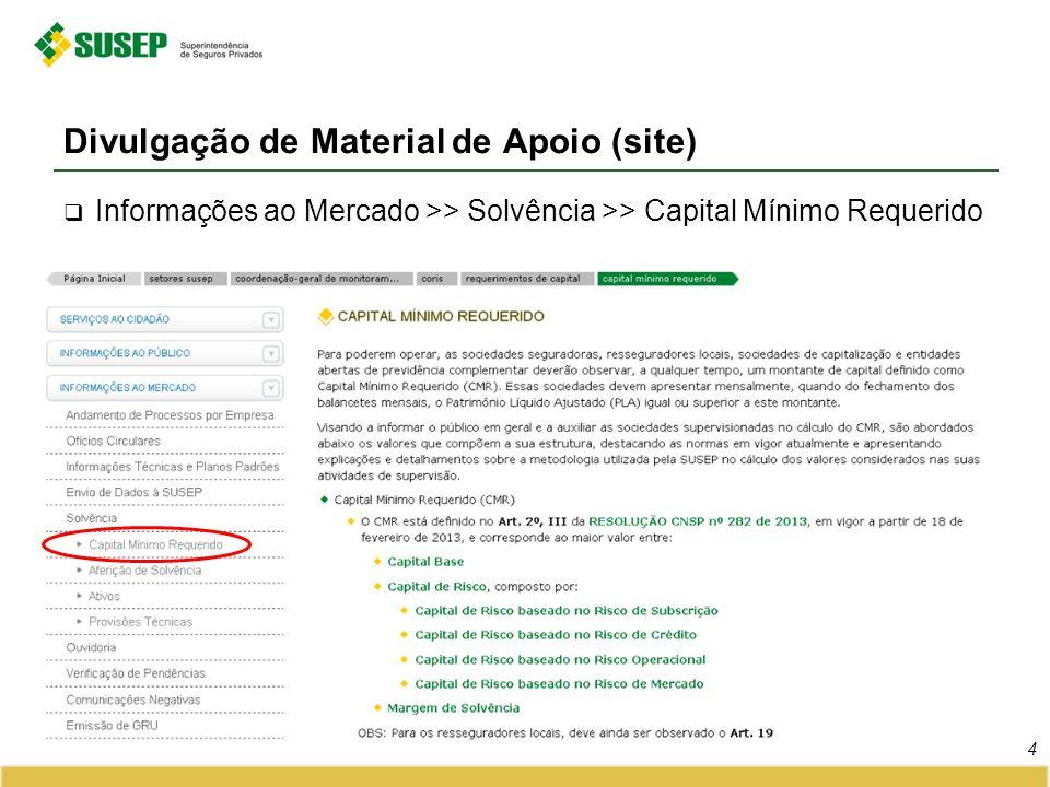 Divulgação de Material de Apoio (site) 4 Informações ao Mercado >> Solvência >> Capital Mínimo Requerido