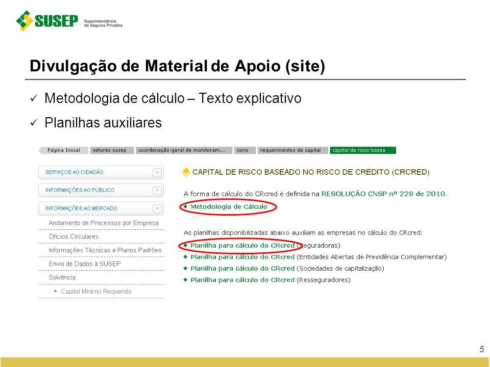 Divulgação de Material de Apoio (site) 5 Metodologia de cálculo – Texto explicativo Planilhas auxiliares