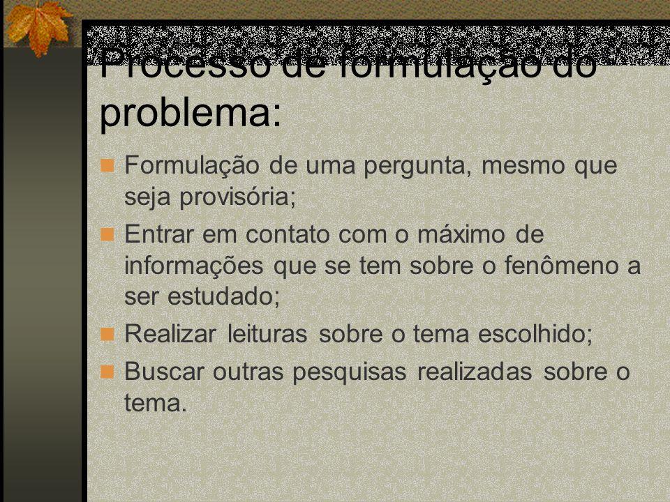 Processo de formulação do problema: Formulação de uma pergunta, mesmo que seja provisória; Entrar em contato com o máximo de informações que se tem so