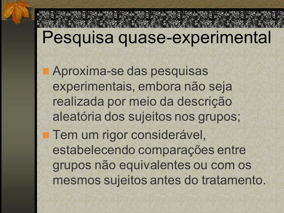 Pesquisa quase-experimental Aproxima-se das pesquisas experimentais, embora não seja realizada por meio da descrição aleatória dos sujeitos nos grupos