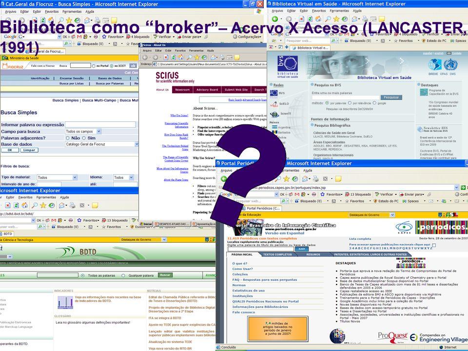 17 Biblioteca como broker – Acervo X Acesso (LANCASTER, 1991)