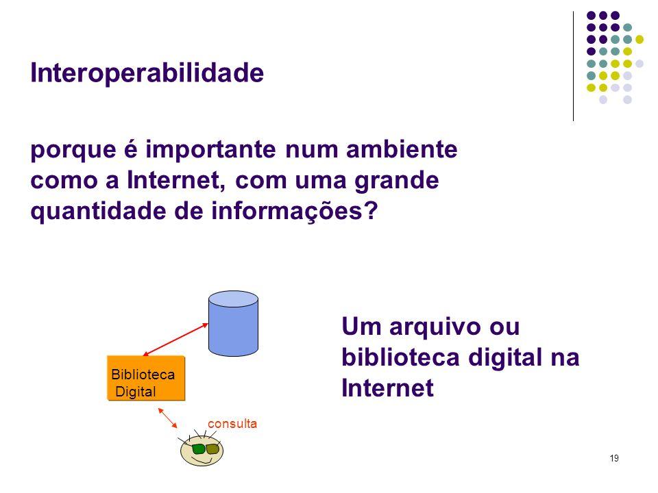 19 Interoperabilidade Biblioteca Digital consulta Um arquivo ou biblioteca digital na Internet porque é importante num ambiente como a Internet, com u