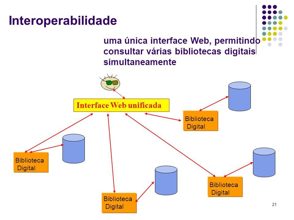 21 Biblioteca Digital Biblioteca Digital Biblioteca Digital Biblioteca Digital Interface Web unificada uma única interface Web, permitindo consultar v