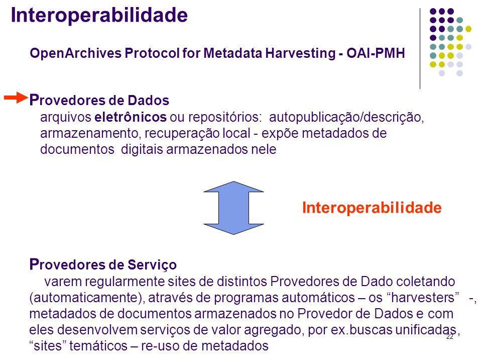 22 P rovedores de Dados arquivos eletrônicos ou repositórios: autopublicação/descrição, armazenamento, recuperação local - expõe metadados de document