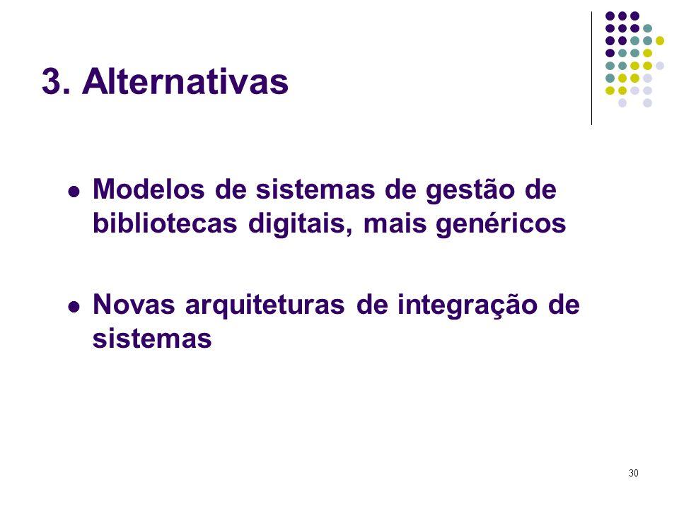 30 3. Alternativas Modelos de sistemas de gestão de bibliotecas digitais, mais genéricos Novas arquiteturas de integração de sistemas