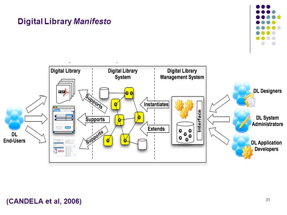 31 (CANDELA et al, 2006) Digital Library Manifesto