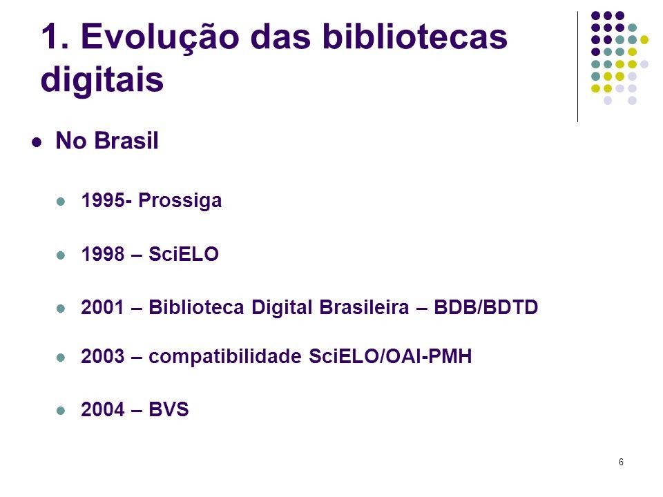 6 1. Evolução das bibliotecas digitais No Brasil 1995- Prossiga 1998 – SciELO 2001 – Biblioteca Digital Brasileira – BDB/BDTD 2003 – compatibilidade S