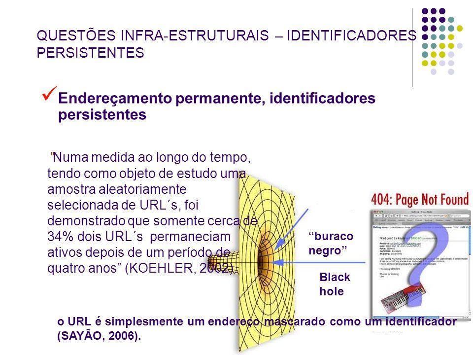 8 QUESTÕES INFRA-ESTRUTURAIS – IDENTIFICADORES PERSISTENTES Endereçamento permanente, identificadores persistentes Numa medida ao longo do tempo, tend