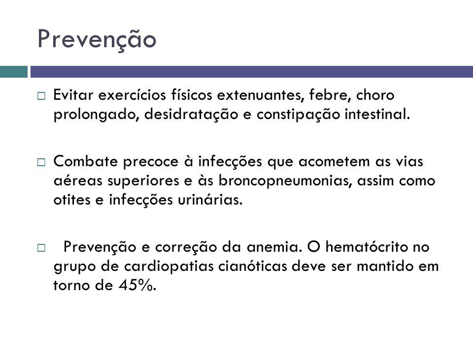 Prevenção Evitar exercícios físicos extenuantes, febre, choro prolongado, desidratação e constipação intestinal. Combate precoce à infecções que acome