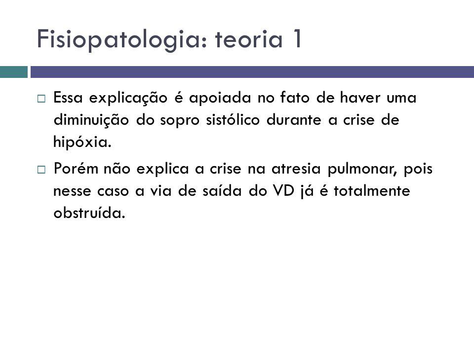 Fisiopatologia: teoria 1 Essa explicação é apoiada no fato de haver uma diminuição do sopro sistólico durante a crise de hipóxia. Porém não explica a