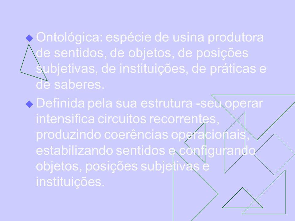 Ontológica: espécie de usina produtora de sentidos, de objetos, de posições subjetivas, de instituições, de práticas e de saberes. Definida pela sua e