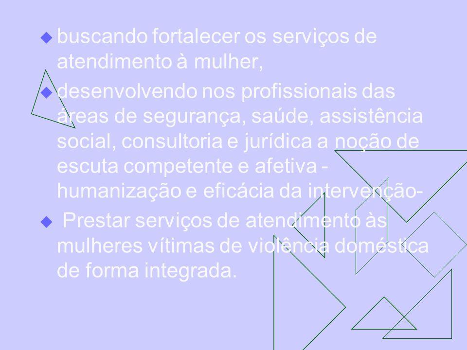 buscando fortalecer os serviços de atendimento à mulher, desenvolvendo nos profissionais das áreas de segurança, saúde, assistência social, consultori