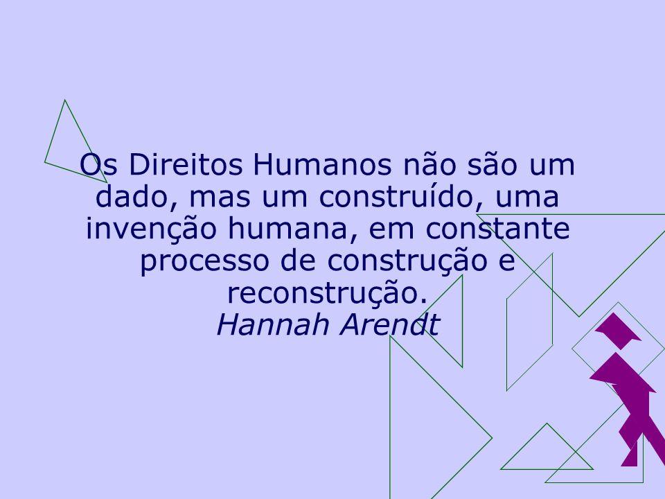 Os Direitos Humanos não são um dado, mas um construído, uma invenção humana, em constante processo de construção e reconstrução. Hannah Arendt