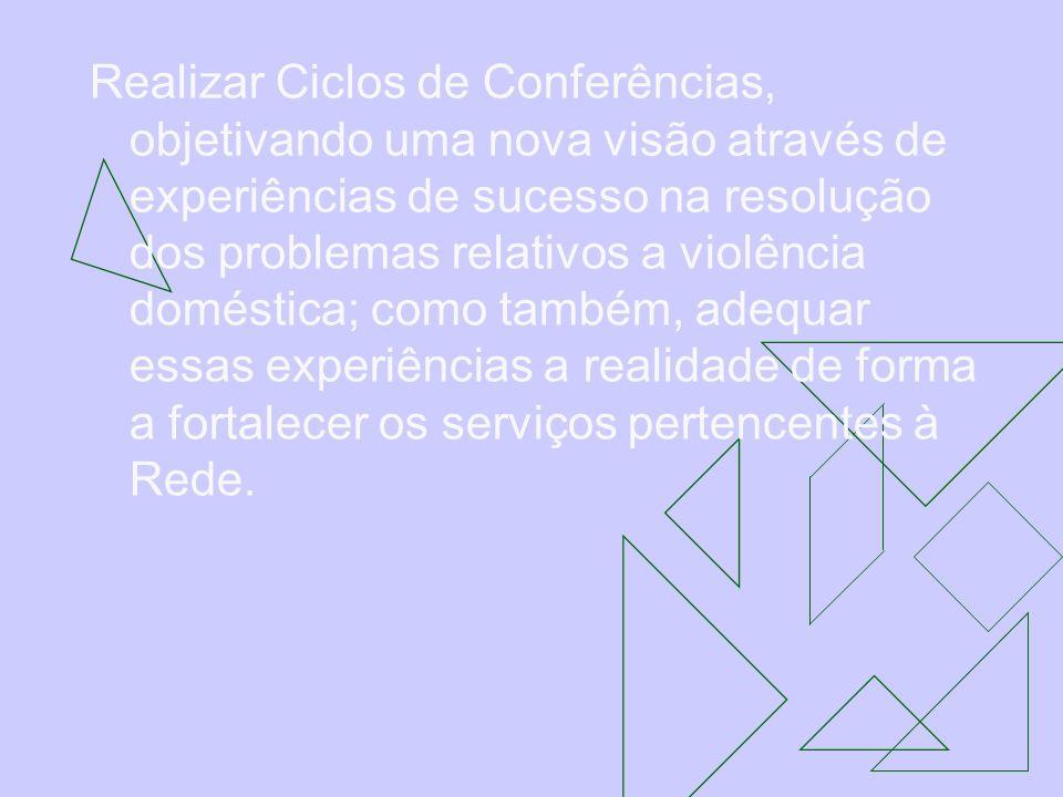 Realizar Ciclos de Conferências, objetivando uma nova visão através de experiências de sucesso na resolução dos problemas relativos a violência domést