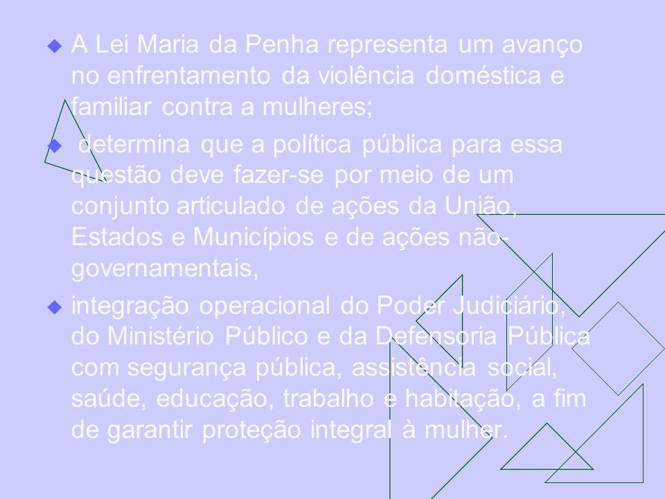A Lei Maria da Penha representa um avanço no enfrentamento da violência doméstica e familiar contra a mulheres; determina que a política pública para