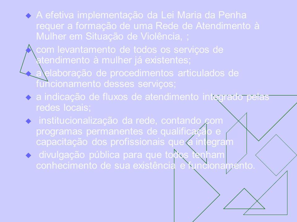 A efetiva implementação da Lei Maria da Penha requer a formação de uma Rede de Atendimento à Mulher em Situação de Violência, ; com levantamento de to