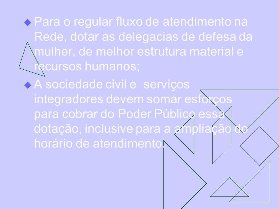 Para o regular fluxo de atendimento na Rede, dotar as delegacias de defesa da mulher, de melhor estrutura material e recursos humanos; A sociedade civ