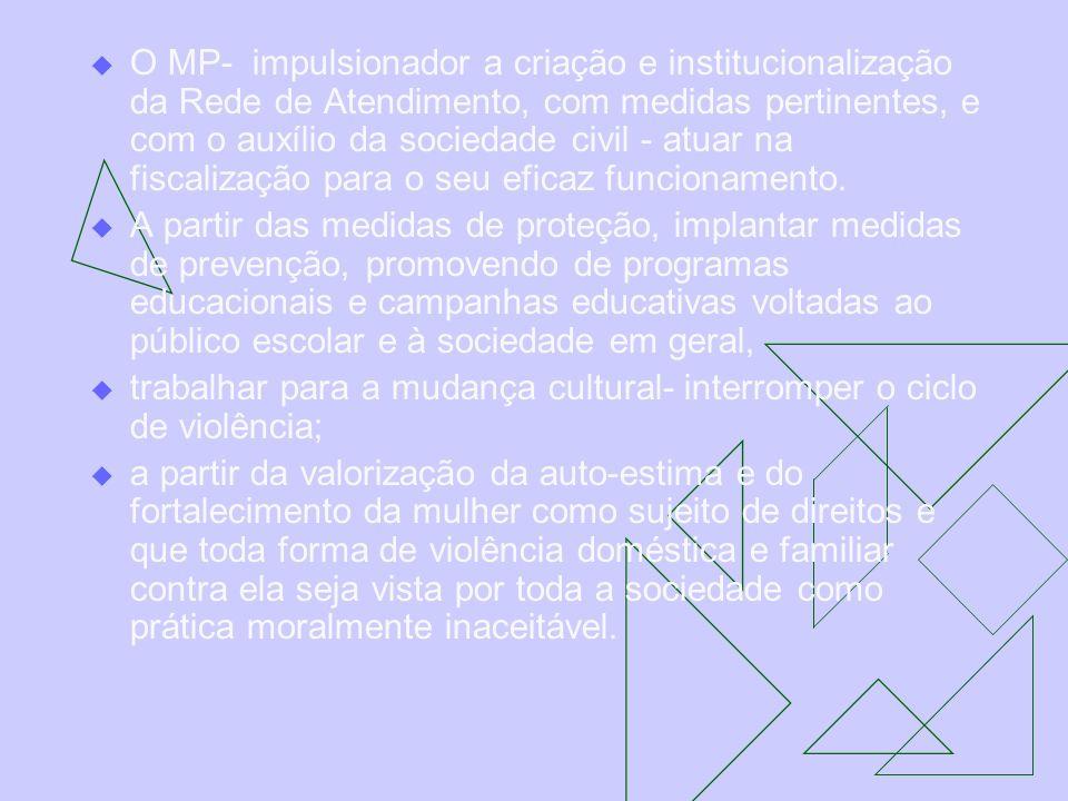 O MP- impulsionador a criação e institucionalização da Rede de Atendimento, com medidas pertinentes, e com o auxílio da sociedade civil - atuar na fis