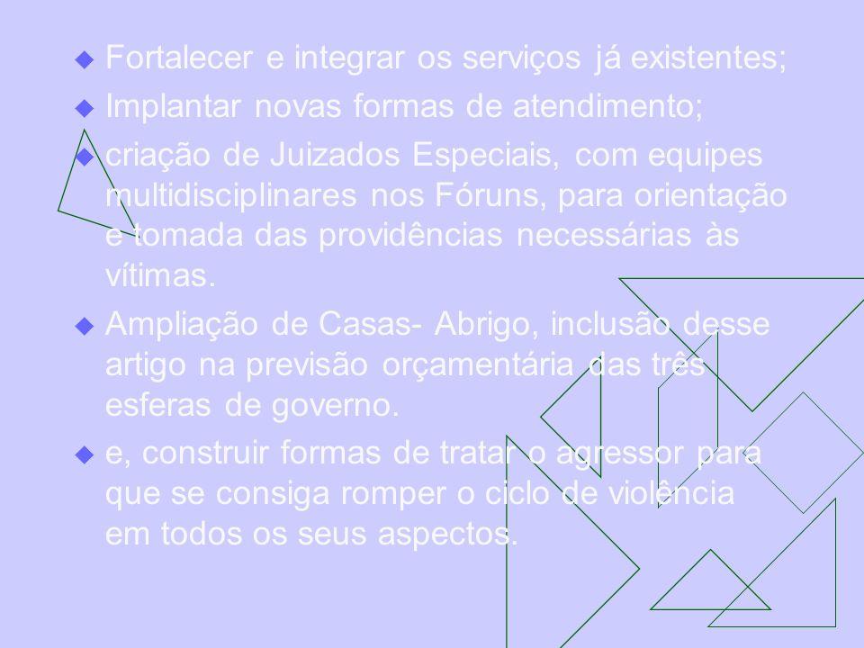 Fortalecer e integrar os serviços já existentes; Implantar novas formas de atendimento; criação de Juizados Especiais, com equipes multidisciplinares