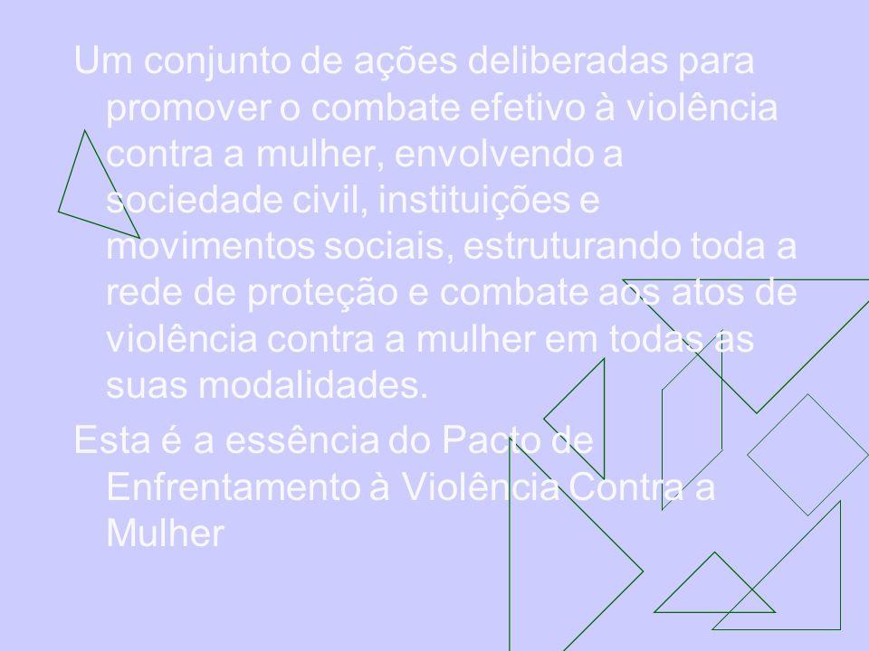 Um conjunto de ações deliberadas para promover o combate efetivo à violência contra a mulher, envolvendo a sociedade civil, instituições e movimentos