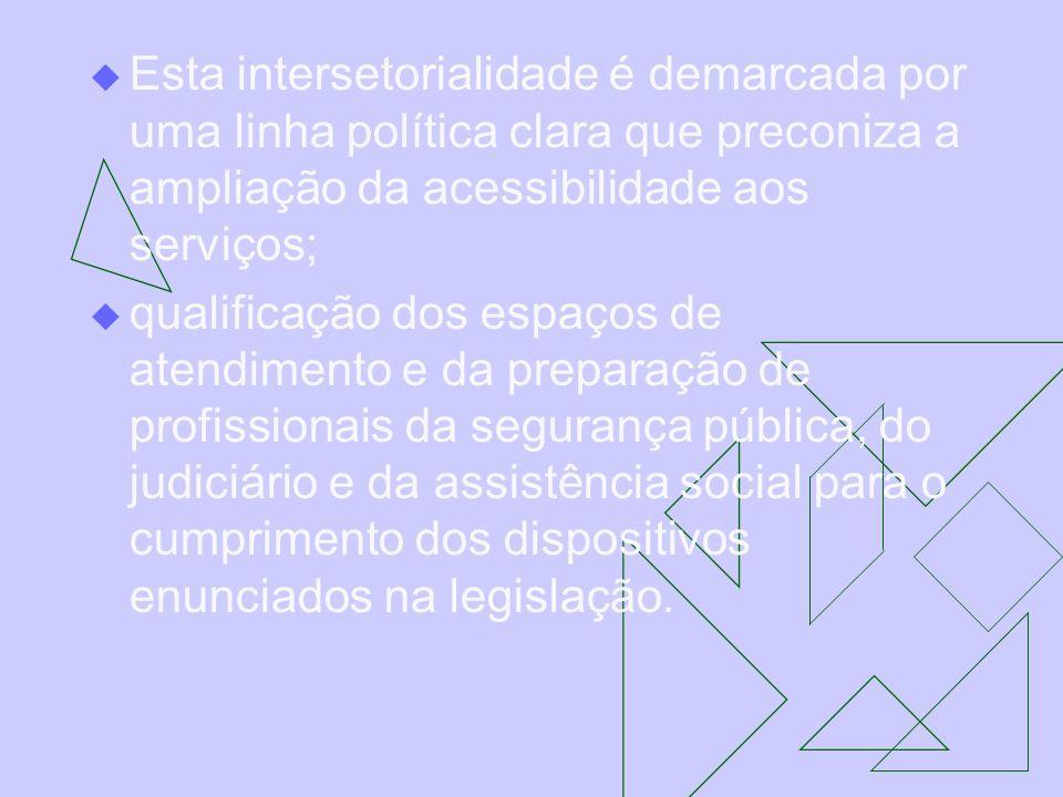 Esta intersetorialidade é demarcada por uma linha política clara que preconiza a ampliação da acessibilidade aos serviços; qualificação dos espaços de