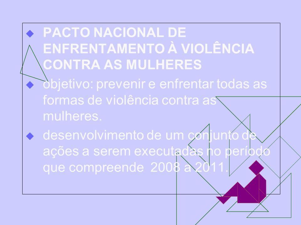 PACTO NACIONAL DE ENFRENTAMENTO À VIOLÊNCIA CONTRA AS MULHERES objetivo: prevenir e enfrentar todas as formas de violência contra as mulheres. desenvo
