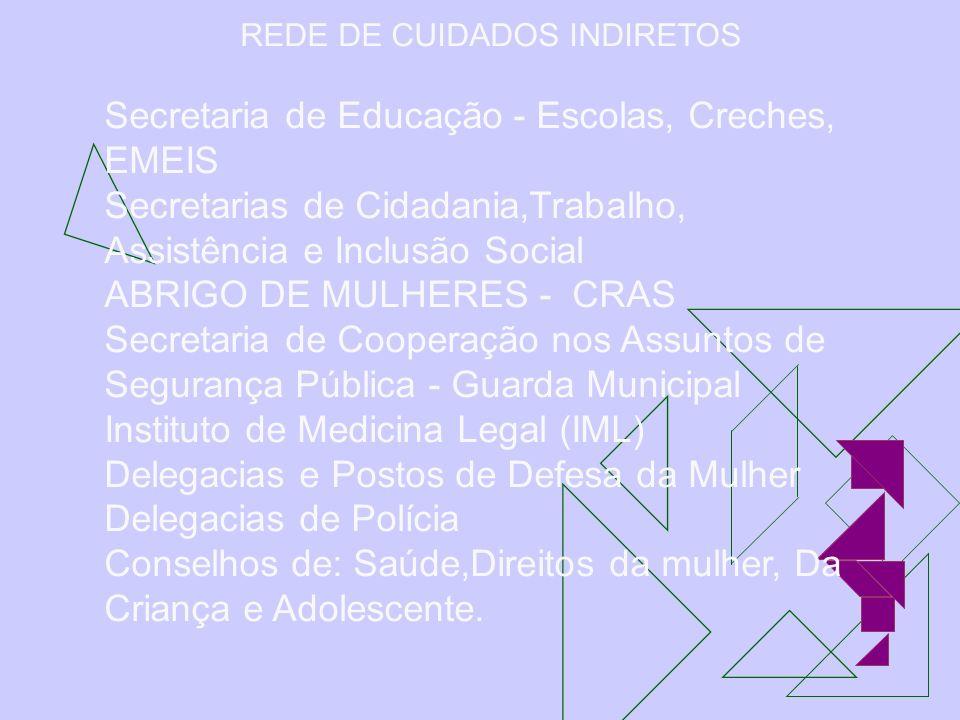 REDE DE CUIDADOS INDIRETOS Secretaria de Educação - Escolas, Creches, EMEIS Secretarias de Cidadania,Trabalho, Assistência e Inclusão Social ABRIGO DE