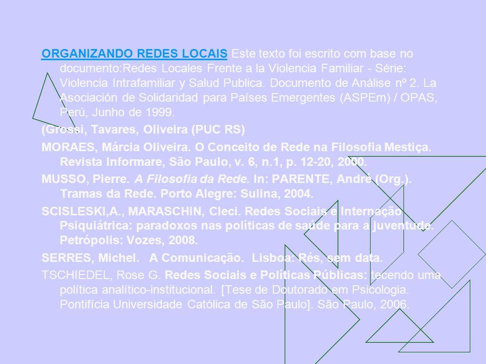 ORGANIZANDO REDES LOCAISORGANIZANDO REDES LOCAIS Este texto foi escrito com base no documento:Redes Locales Frente a la Violencia Familiar - Série: Vi