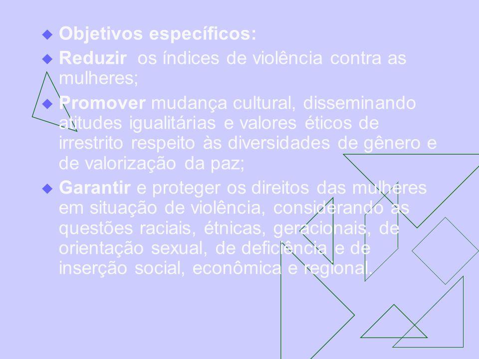 Objetivos específicos: Reduzir os índices de violência contra as mulheres; Promover mudança cultural, disseminando atitudes igualitárias e valores éti