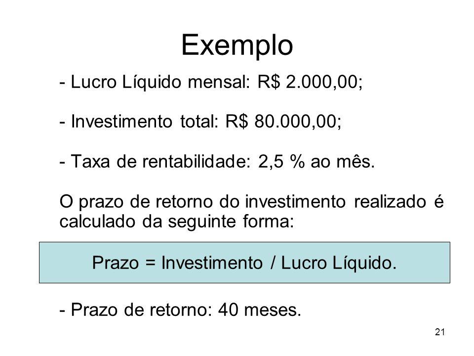 21 Exemplo - Lucro Líquido mensal: R$ 2.000,00; - Investimento total: R$ 80.000,00; - Taxa de rentabilidade: 2,5 % ao mês. O prazo de retorno do inves