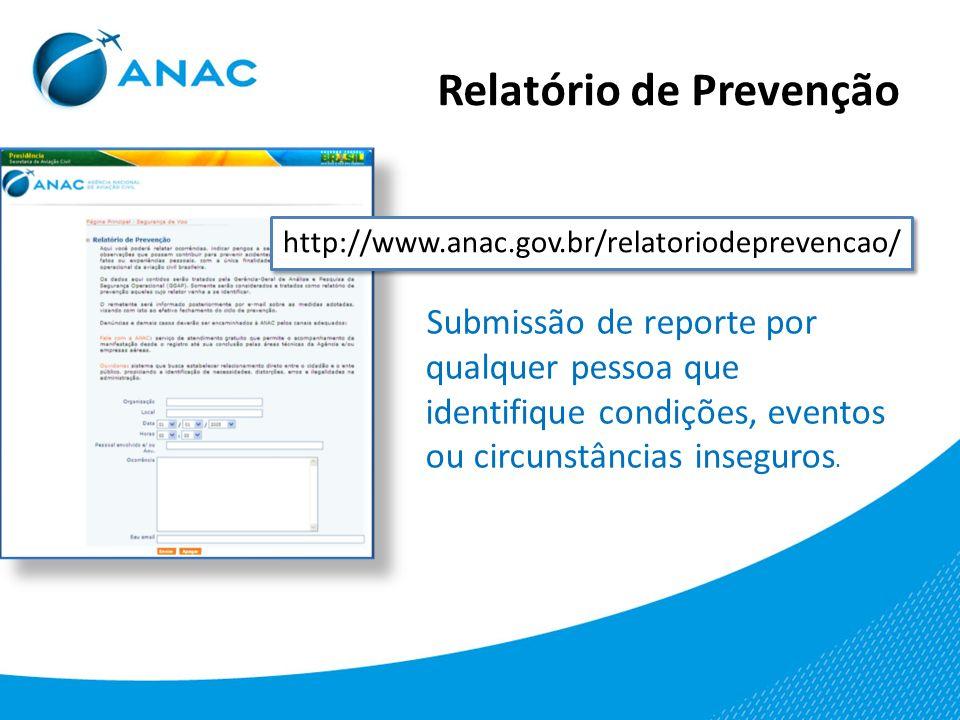 Relatório de Prevenção http://www.anac.gov.br/relatoriodeprevencao/ Submissão de reporte por qualquer pessoa que identifique condições, eventos ou cir