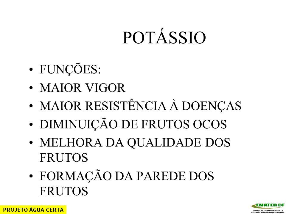FÓSFORO (P) FONTES: MAP – 9 (N) e 48 (P2O5) ÁCIDO FOSFÓRICO – 64 (P) FÓRMULAS PRONTAS PROJETO ÁGUA CERTA