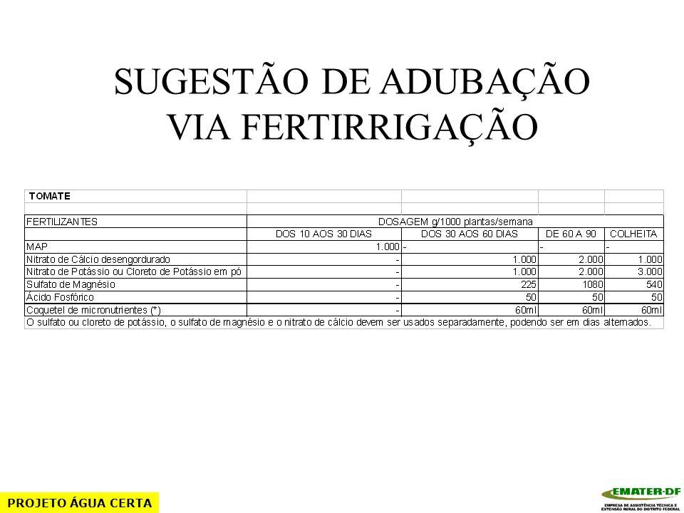 SUGESTÃO DE ADUBAÇÃO VIA FERTIRRIGAÇÃO PROJETO ÁGUA CERTA