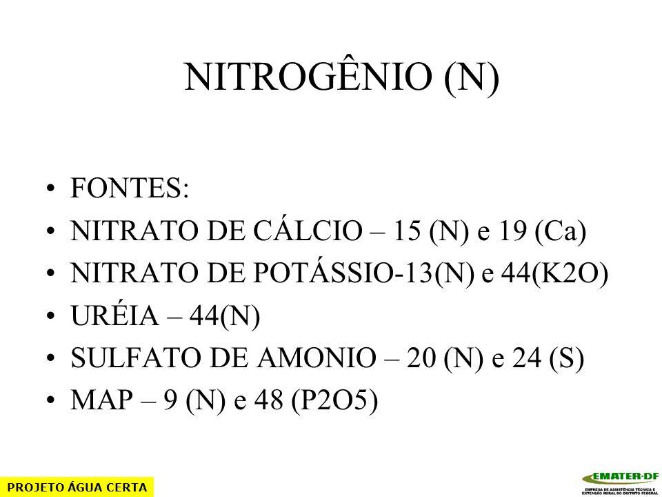NITROGÊNIO (N) FUNÇÕES: COLORAÇÃO RÁPIDO CRESCIMENTO AUMENTO DE FOLHAGEM DECOMPOSIÇÃO DA MATÉRIA ORGÂNICA PROJETO ÁGUA CERTA