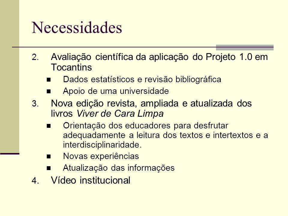 Necessidades 2. Avaliação científica da aplicação do Projeto 1.0 em Tocantins Dados estatísticos e revisão bibliográfica Apoio de uma universidade 3.