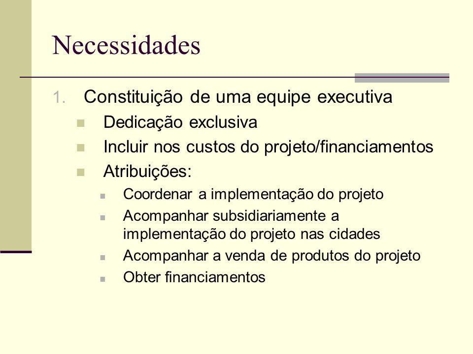 Necessidades 1. Constituição de uma equipe executiva Dedicação exclusiva Incluir nos custos do projeto/financiamentos Atribuições: Coordenar a impleme
