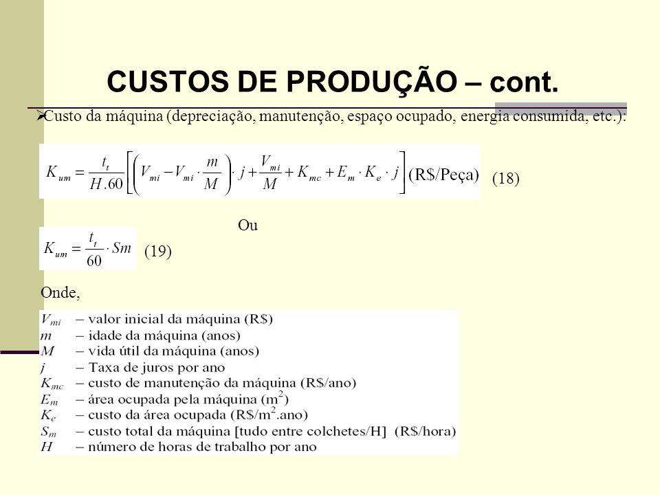 VIDA ECONÔMICA DA FERRAMENTA O custo da produção por peça (Kp) = Kus + Kuf + Kum ou Substituindo a equação (11) = (20) em (20) e manipulando a equação têm-se: (21) Que pode ser reduzido para: (22) Onde, C1, C2 e C3 são termos que: C1(R$/peça) Independe de Vc; C2 (R$/hora) – É a soma das despesas com Mão-de-obra e máquina diminui com Vc; C3 – Constante de custo relativo a ferramenta aumenta com Vc.