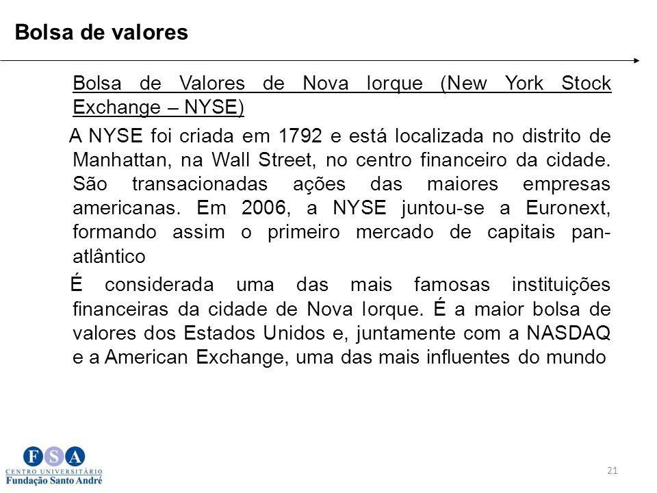 Bolsa de Valores de Nova Iorque (New York Stock Exchange – NYSE) A NYSE foi criada em 1792 e está localizada no distrito de Manhattan, na Wall Street,