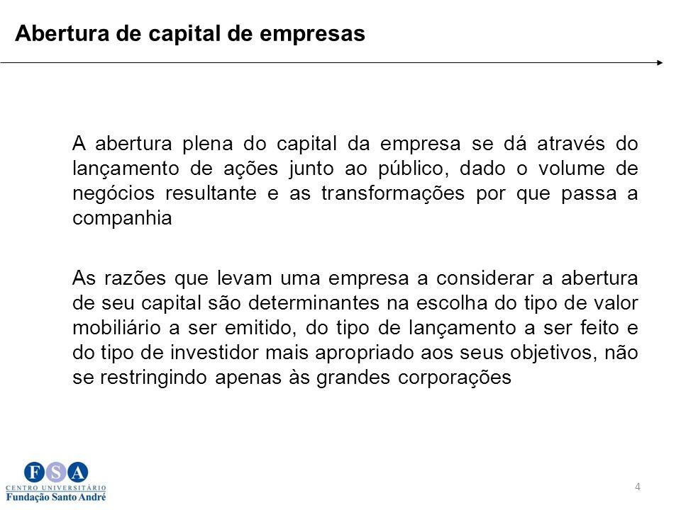 A abertura plena do capital da empresa se dá através do lançamento de ações junto ao público, dado o volume de negócios resultante e as transformações