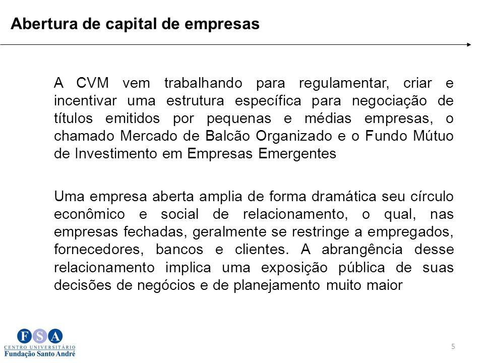 5 A CVM vem trabalhando para regulamentar, criar e incentivar uma estrutura específica para negociação de títulos emitidos por pequenas e médias empre