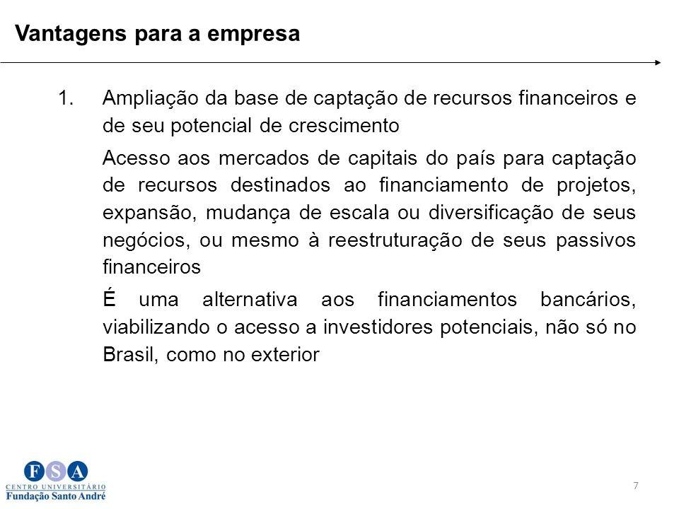 1.Ampliação da base de captação de recursos financeiros e de seu potencial de crescimento Acesso aos mercados de capitais do país para captação de rec