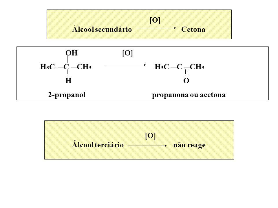 [O] Álcool secundário Cetona OH [O] H 3 C C CH 3 H 3 C C CH 3 H O 2-propanol propanona ou acetona [O] Álcool terciário não reage
