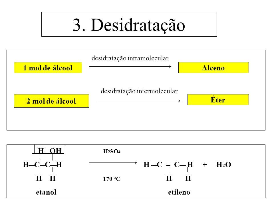 3. Desidratação desidratação intramolecular desidratação intermolecular 1 mol de álcoolAlceno 2 mol de álcool Éter H OH H 2 SO 4 H C C H H C = C H + H