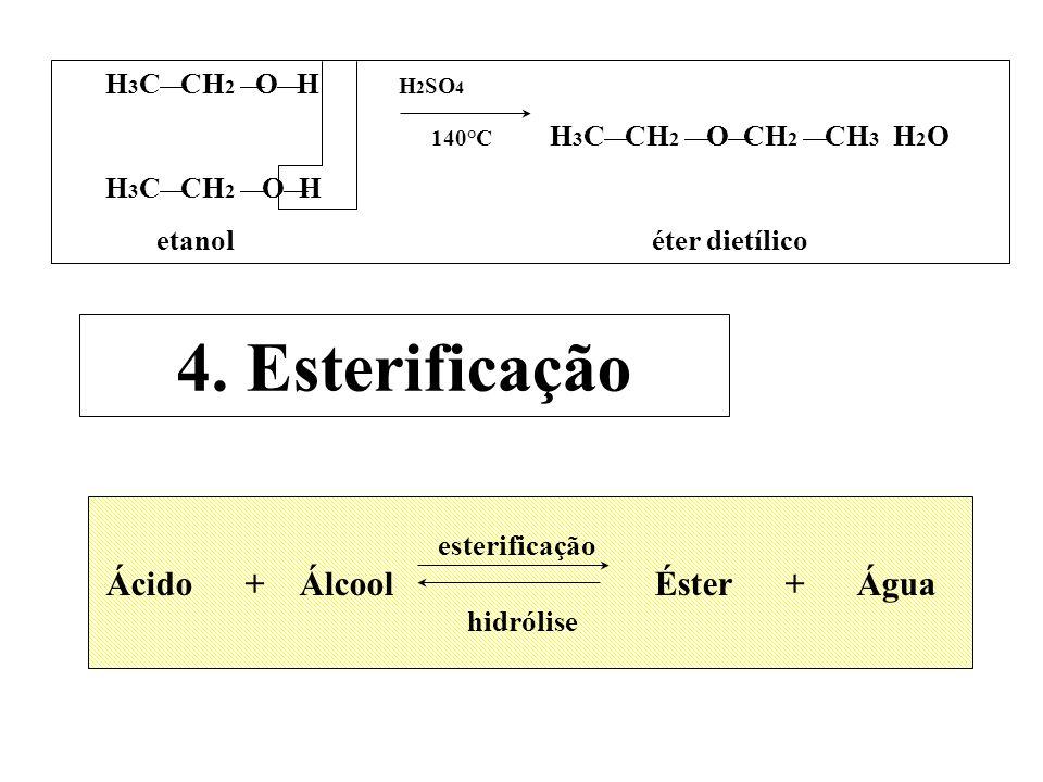 H 3 C CH 2 O H H 2 SO 4 140°C H 3 C CH 2 O CH 2 CH 3 H 2 O H 3 C CH 2 O H etanol éter dietílico 4. Esterificação esterificação Ácido + Álcool Éster +